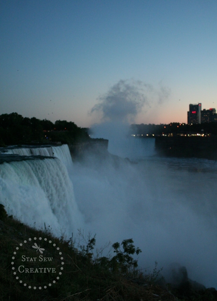 The falls in the evening looking toward the Canadian side via StaySewCreative.com