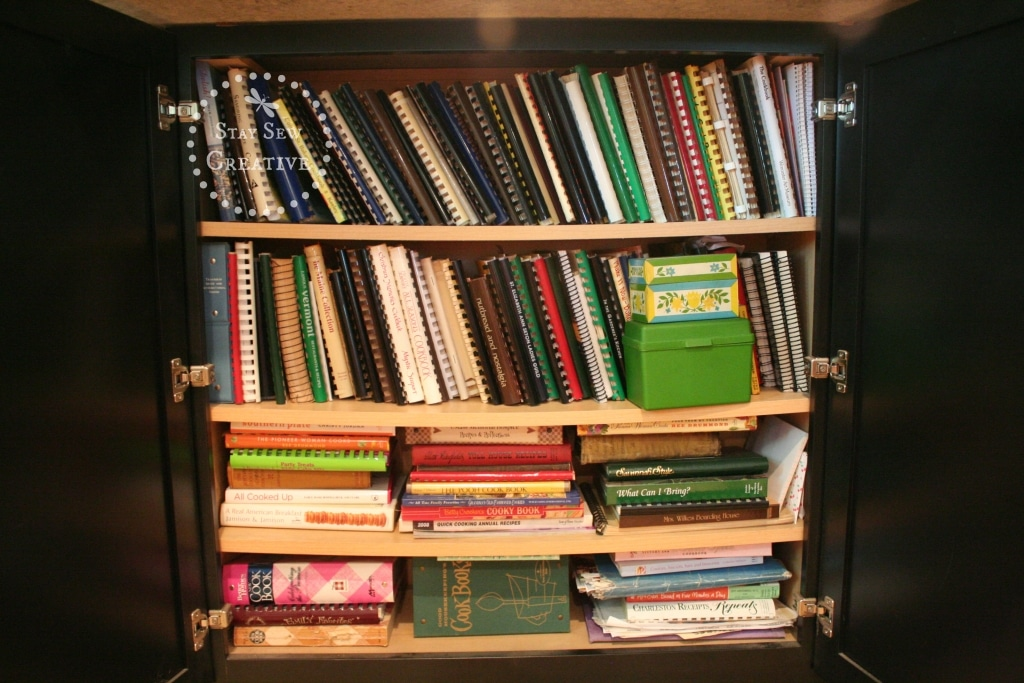 Cabinet filled with cook books