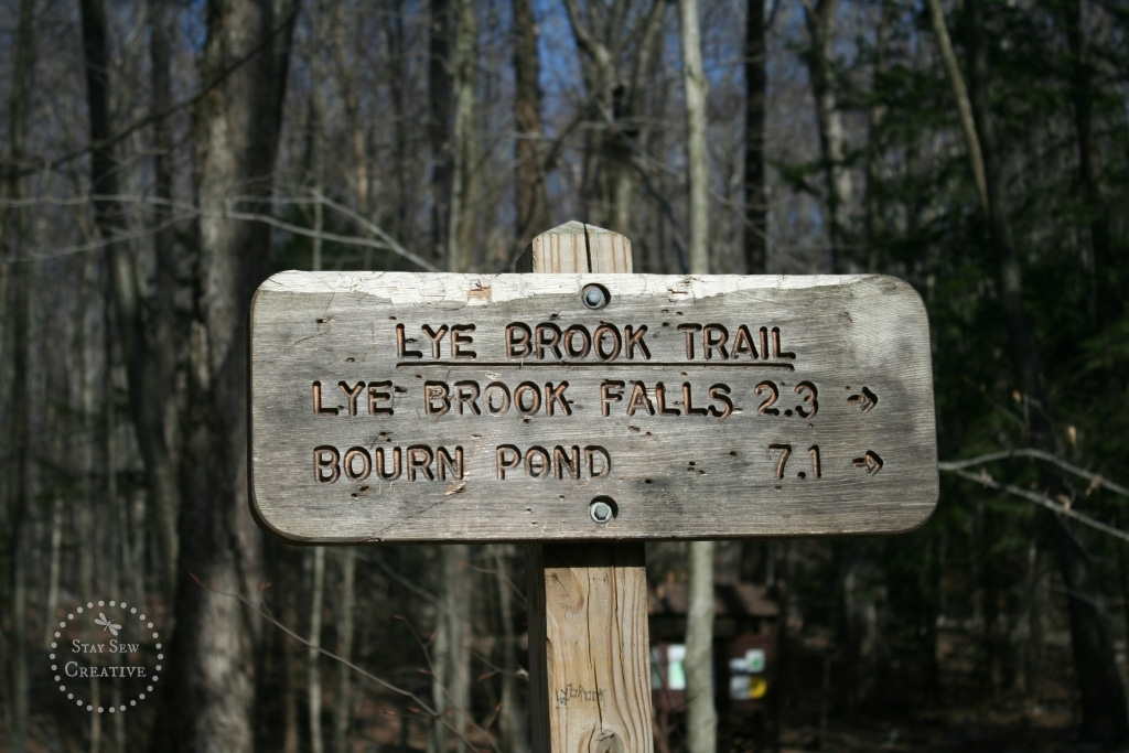Lye Brook Falls Trail sign, Manchester, VT. 2.3 miles to the falls.